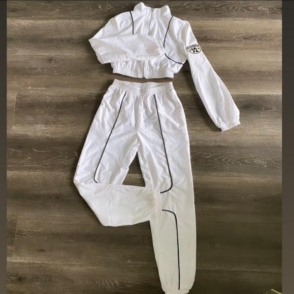 Fashion nova white tracksuit set